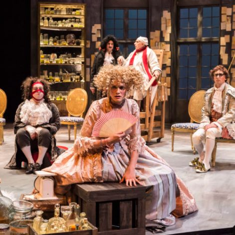 "Kelsey Carthew (center) as the daughter panicked at her father's choice of mates in ""The Imaginary Invalid"" at A Noise Within [Photo: Craig Schwartz]"