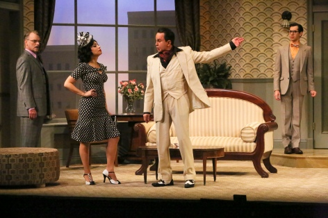 "J. Paul Boehmer, Catherine LeFrere, Davis Gaines and John Shartzer star in the LA MIRADA THEATRE FOR THE PERFORMING ARTS/McCOY RIGBY ENTERTAINMENT production of ""LEND ME A TENOR."" [photo: Michael Lamont]"
