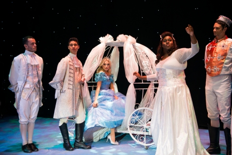 (L - R) Lauren Taylor, Alex Newell  Matthew Patrick Davis and the ensemble of  A CINDERELLA CHRISTMAS at The Pasadena Playhouse. [Photo: Philicia Endelman]