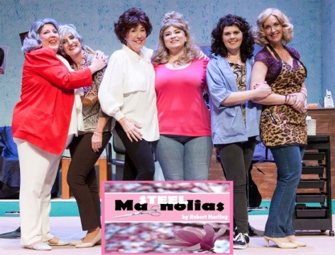 "Nancy Tyler, Marty Crouse, Rose London, Evelyn Goode, Juli Ray and Veronique Warner Merrill in ""Steel Magnolias"", helping celebrate Whittier Community Theatre's 95th anniversary [photo: Avis Photography]"